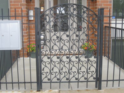 Restricted Access Gate with Locks and Mailboxes