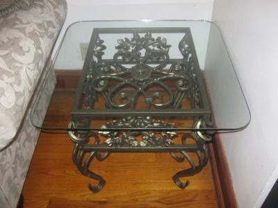 Iron Scroll-Work Table with Glass Type